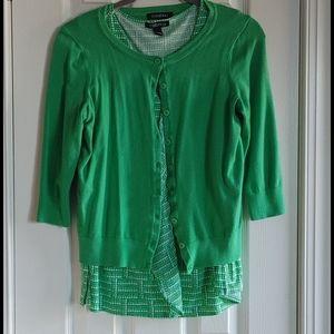 Roz and Ali Cardigan Sweater 3/4 Sleeve Green
